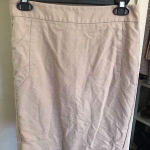 Knee length khaki pencil skirt